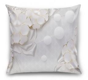 3D Подушка «Объемные цветы с жемчугом»