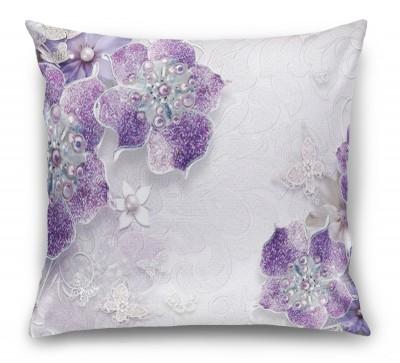 3D Подушка «Ювелирные фиолетовые цветы»