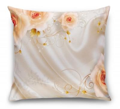 3D Подушка «Бежевые розы на шелке»