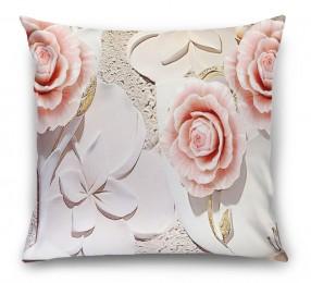 3D Подушка «Объемная композиция с бутонами роз»