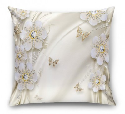 3D Подушка «Цветы с бриллиантами на бежевом шелке»