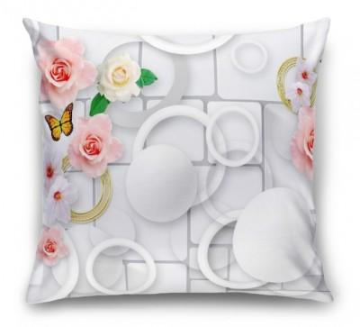 3D Подушка «Цветы с золотыми кольцами»