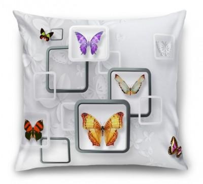 3D Подушка «Яркие бабочки на объемном фоне»