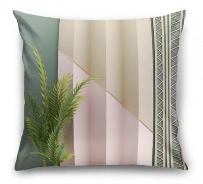 3D Подушка «Пальмовые ветви на объемной стене»