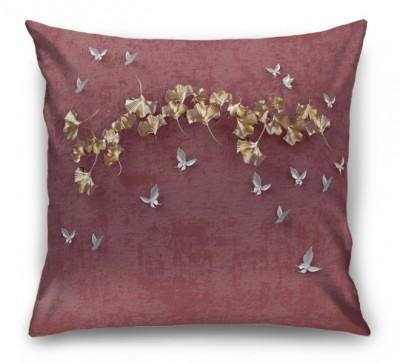 3D Подушка «Серебрянные птички над золотыми зонтиками»