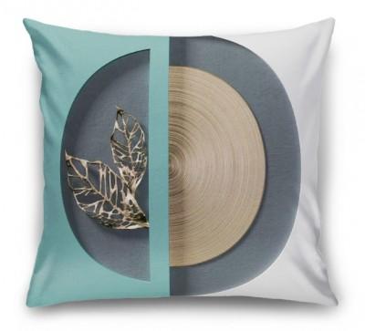 3D Подушка «Золотые листья в геометрической нише»