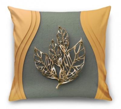 3D Подушка «Объемная стена с золотыми листьями»