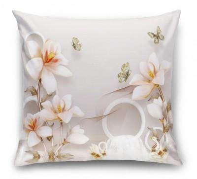 3D Подушка «Объемные орхидеи с бабочками и лебедями»