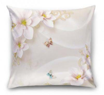 3D Подушка «Нежно-розовые керамические магнолии»