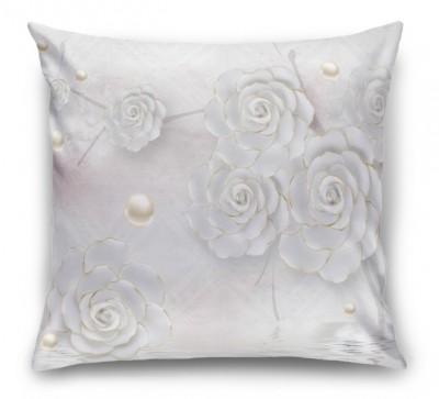 3D Подушка «Нежные керамические цветы с золотом»