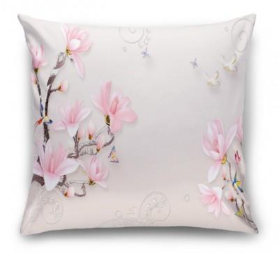 3D Подушка «Серебристые ветви розовых магнолий»