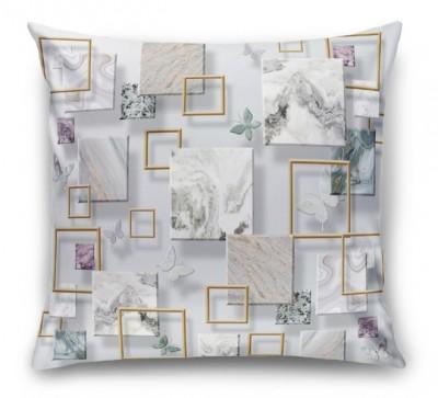 3D Подушка «Бабочки и мраморные квадраты»