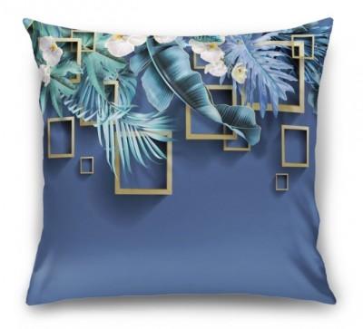 3D Подушка «Дикие орхидеи с золотыми квадратами»