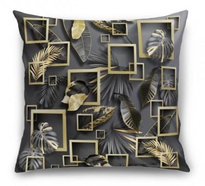 3D Подушка «Листья с золотыми квадратами»