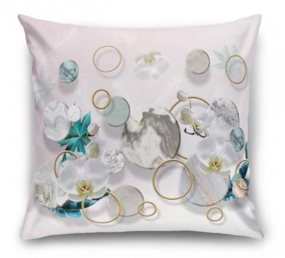 3D Подушка «Орхидеи с кругами и перьями»