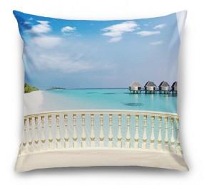 3D Подушка «С видом на террасу Мальдивы»