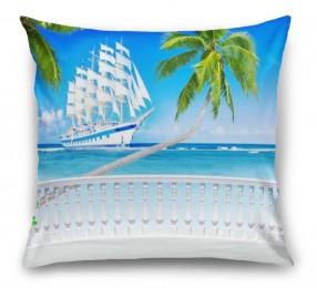 3D Подушка «Терраса с видом на море и пляж»