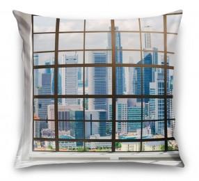 3D Подушка «Окна с панорамным видом на город»