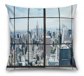 3D Подушка «Вид из окна на современный город»