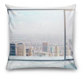 3D Подушка «Вид из окна на солнечный день в городе»