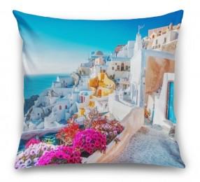 3D Подушка «Горшки с цветами на террасе»
