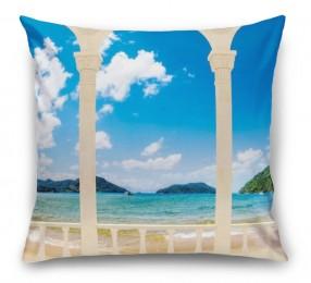 3D Подушка «Терраса с арками на берегу моря»