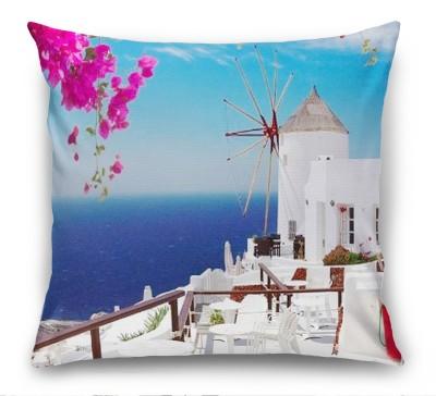 3D Подушка «Яркие цветы на балконе. Санторини»