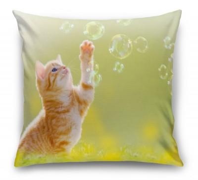3D Подушка «Рыжий кот с мыльными пузырями»