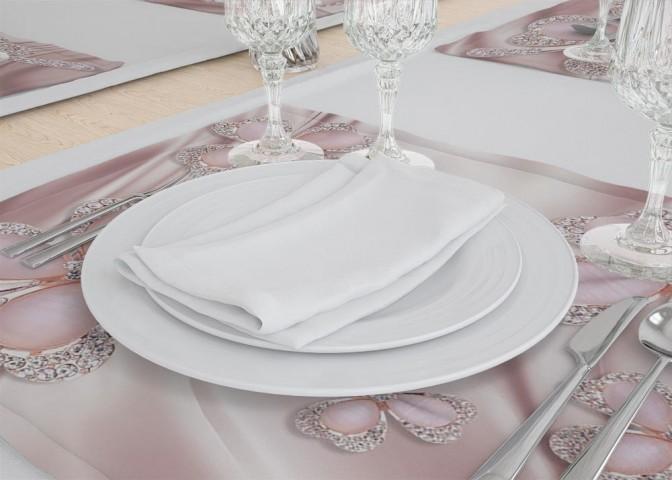 Сервировочные салфетки под тарелки «Клевер с бриллиантами в нежно-розовых тонах» вид 3