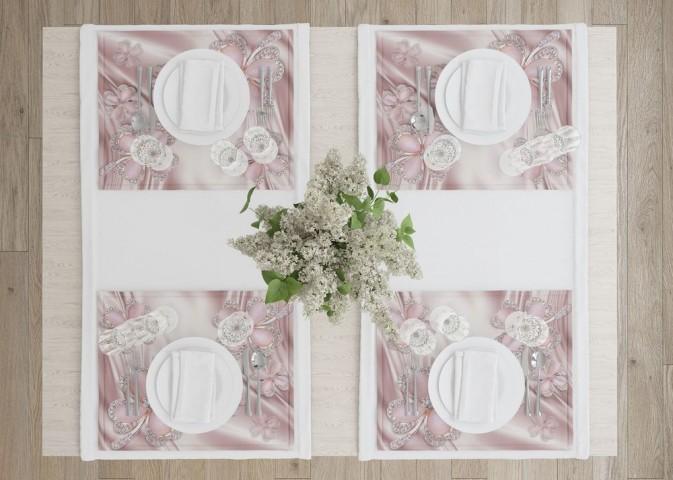 Сервировочные салфетки под тарелки «Клевер с бриллиантами в нежно-розовых тонах» вид 4