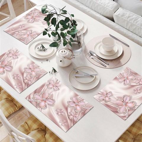 Сервировочные салфетки под тарелки «Клевер с бриллиантами в нежно-розовых тонах» вид 6