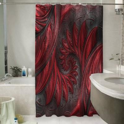 Шторы для ванной «Красный узор на благородной коже»