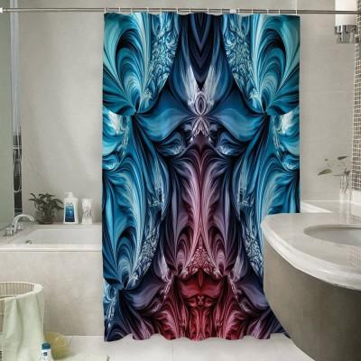 Шторы для ванной «Симметричная абстракция с лазурным оттенком»