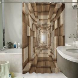 Шторы для ванной «Тоннель из древесных кубов»
