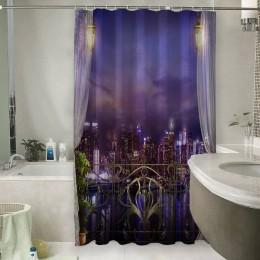 Шторы для ванной «Балкон с видом на ночной город»