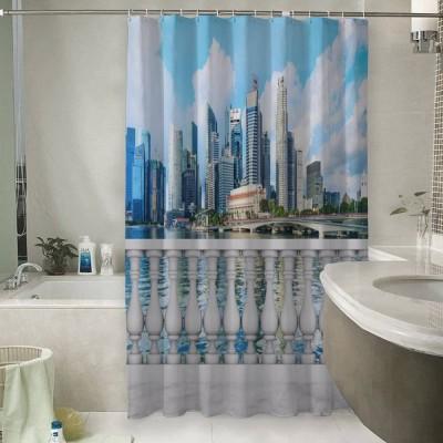 Шторы для ванной «Набережная с видом на мегаполис»