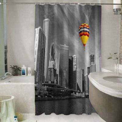 Шторы для ванной «Воздушный шар в мегаполисе»