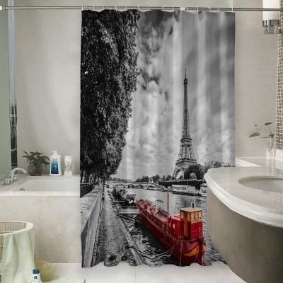 Шторы для ванной «Эйфелева башня у реки»