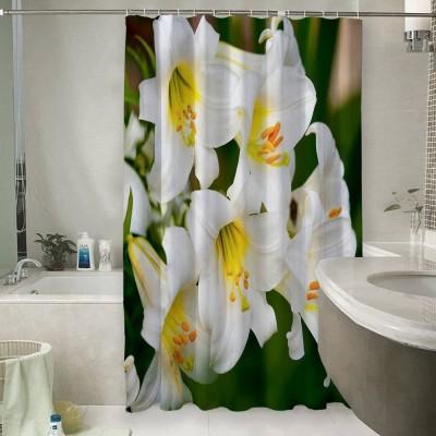 Шторы для ванной «Белые лилии»