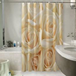 Шторы для ванной «Ковер из бежевых роз»