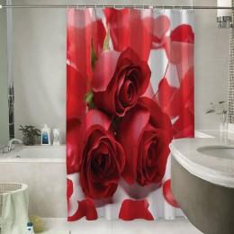 Шторы для ванной «Композиция с алыми розами»