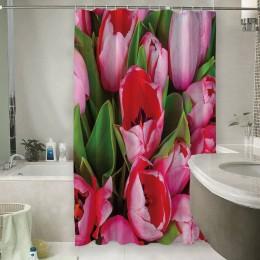 Шторы для ванной «Букет тюльпанов»