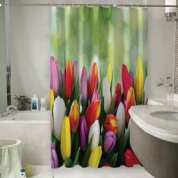 Шторы для ванной «Разноцветные тюльпаны»