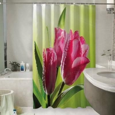 Шторы для ванной «Тюльпаны на зеленом фоне»