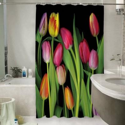 Шторы для ванной «Тюльпаны на темном фоне»