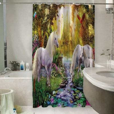 Шторы для ванной «Единороги на водопое»
