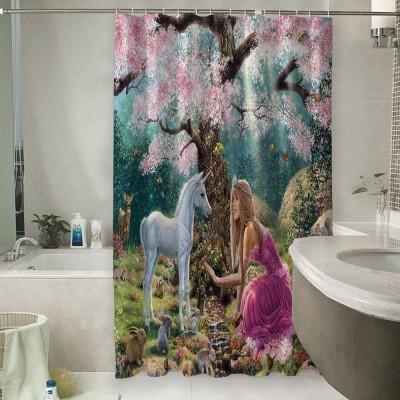 Шторы для ванной «Принцесса в цветущем саду»