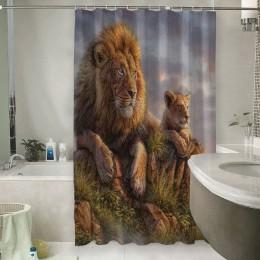 Шторы для ванной «Величественные львы»