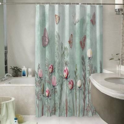 Шторы для ванной «Бабочки в саду»