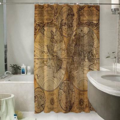 Шторы для ванной «Старая карта мира»